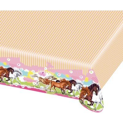TC:Charming Horses Plastic Tablecloth